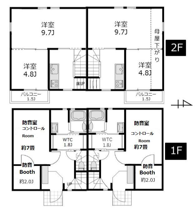 葛飾区高砂3丁目 レコーディングスタジオ付き賃貸住宅の間取り図