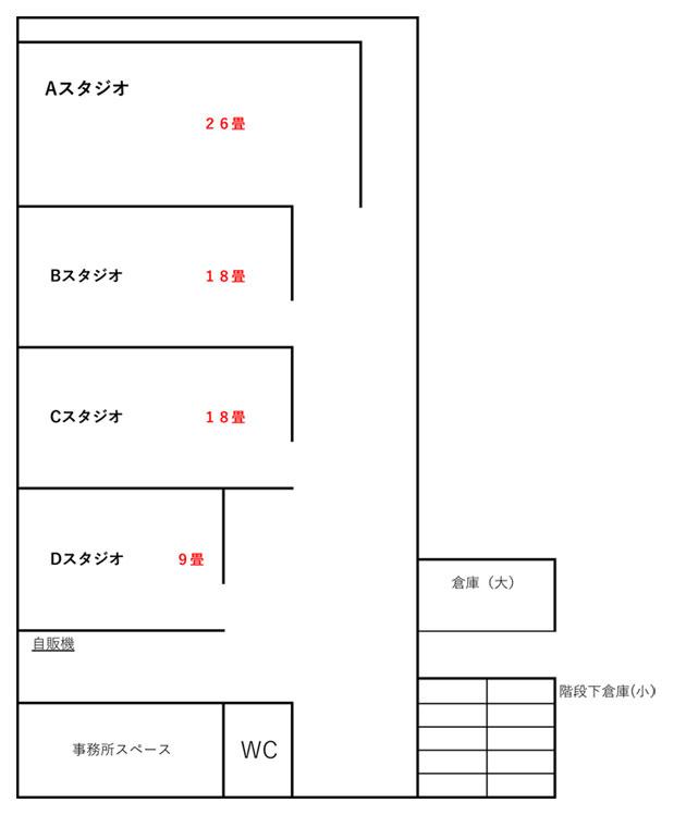 中野区野方 リハーサルスタジオの長期リース物件の間取り図