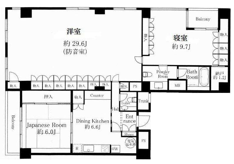 渋谷区千駄ヶ谷 30畳の防音室付き 延床面積126㎡ 高級中古マンションの間取り図