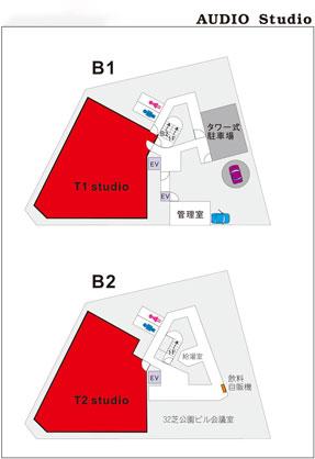 芝公園 東京タワー正面の好立地録音スタジオB1&B2 居抜き譲渡物件の間取り図